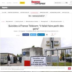 """Suicides à France Télécom: """"il fallait faire partir des gens"""""""
