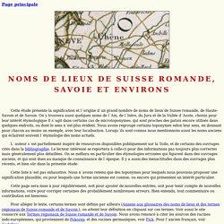 Suisse romande, Savoie et environs