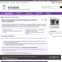 École maternelle - Suivi et évaluation à l'école maternelle