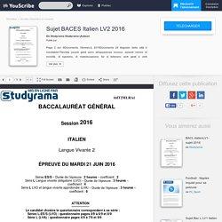 Sujet BACES Italien LV2 2016 - Studyrama Studyrama