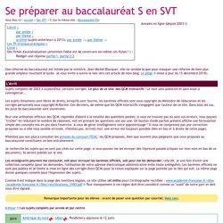 Sujets et corrigés du baccalauréat S en SVT