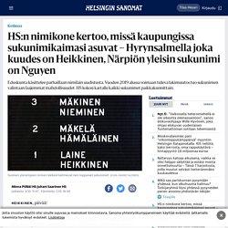 HS:n nimikone kertoo, missä kaupungissa sukunimikaimasi asuvat – Hyrynsalmella joka kuudes on Heikkinen, Närpiön yleisin sukunimi on Nguyen - Kotimaa - Helsingin Sanomat