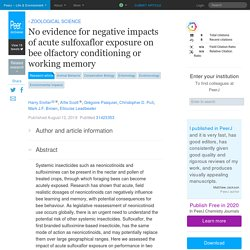 PEERJ 12/08/19 No evidence for negative impacts of acute sulfoxaflor exposure on bee olfactory conditioning or working memory