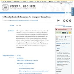Sulfoxaflor; Pesticide Tolerances for Emergency Exemptions