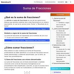 Suma de fracciones — Matemáticas18