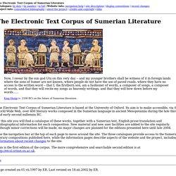 Sumerian literature: ETCSL: The Electronic Text Corpus of Sumerian Literature