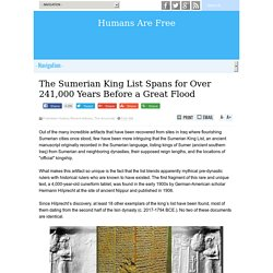 The Sumerian King List Spans for Over 241,000 Years Before a Great Flood