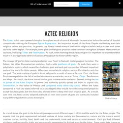 Aztec Religion - History Crunch - History Articles, Summaries, Biographies, Resources and More