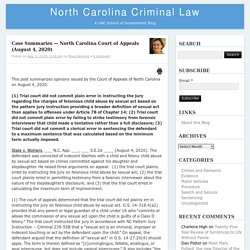 North Carolina Court of Appeals (August 4, 2020) – North Carolina Criminal LawNorth Carolina Criminal Law