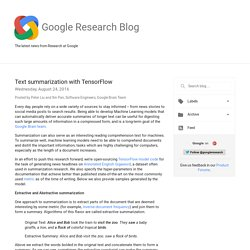 Research Blog: Text summarization with TensorFlow
