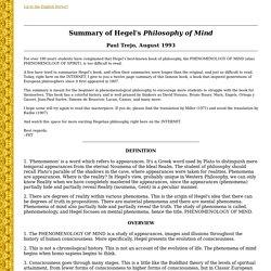 Summary of Hegel's Philosophy of Mind