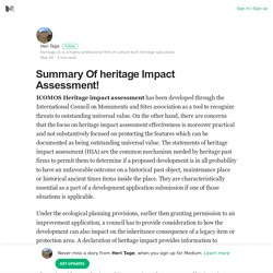 Summary Of heritage Impact Assessment! – Heri Tage – Medium