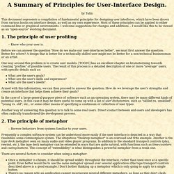 A Summary of User Interface Design Principles