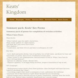 Summary pack: Keats' Key Poems - Keats' Kingdom