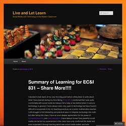 Summary of Learning for EC&I 831 – Share More!!!!