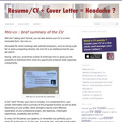 Resume/CV + Cover Letter = Headache ?