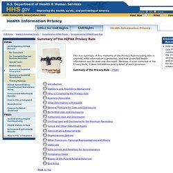 Summary of the HIPAA Privacy Rule