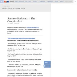 Summer Books 2011: The Complete List