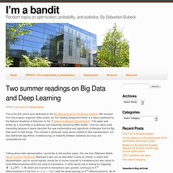 Two summer readings on Big Data and Deep Learning