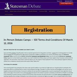 Debate Camp & Clubs Registration At Statesman Debate