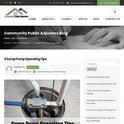 Sump Pump Operating Tips