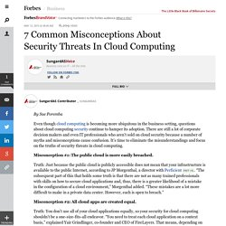 SungardASVoice: 7 Common Misconceptions About Security Threats In Cloud Computing