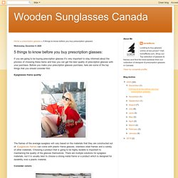 Wooden Sunglasses Canada: 5 things to know before you buy prescription glasses:
