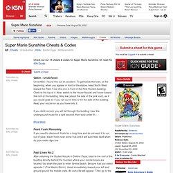 Super Mario Sunshine Cheats, Codes, Hints & Secrets for GameCube