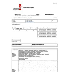 SUPA60100 - ADVANCED PROGRAMME OF STUDY FOR SURFACE PATTERN