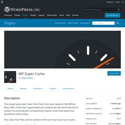 WP Super Cache — WordPress Plugins