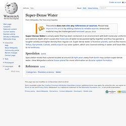 Super-Dense Water
