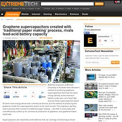 Graphene supercapacitors created with 'traditional paper making' process, rivals lead-acid battery capacity