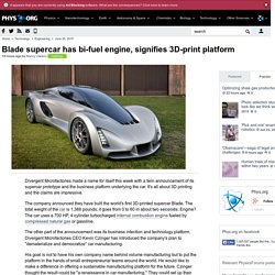 Blade supercar has bi-fuel engine, signifies 3D-print platform