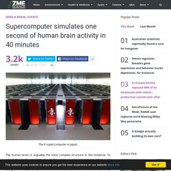 Supercomputer simulates one second of human brain activity in 40 minutes