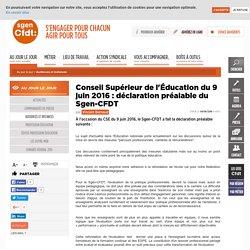 Conseil Supérieur de l'Éducation du 9 juin 2016 : déclaration préalable du Sgen-CFDT