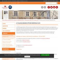 [17-28 Juin] Semaines d'études médiévales 2019 – Centre d'études supérieures de civilisation médiévale (CESCM) – Université de Poitiers