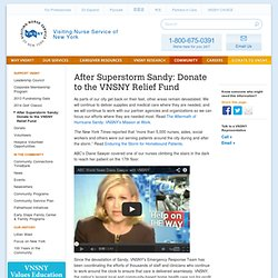 Visiting Nurse Service of New York - After Superstorm Sandy: Donate to the VNSNY Relief Fund