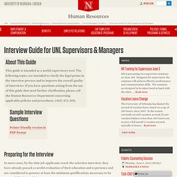 Interview Guide for UNL Supervisors & Managers
