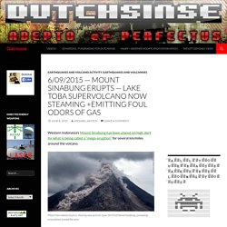 6/09/2015 — Mount Sinabung erupts — Lake Toba Supervolcano now steaming +emitting foul odors of gas