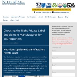 Choosing the Right Private Label Supplement Manufacturer for Your Business