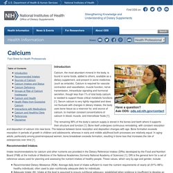 NATIONAL INSTITUTES OF HEALTH 17/11/16 Dietary supplement fact sheet - Calcium.
