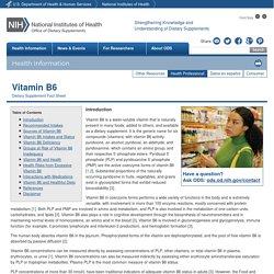Dietary Supplement Fact Sheet: Vitamin B6 — Health Professional Fact Sheet