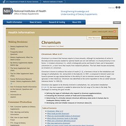 OFFICE OF DIETARY SUPPLEMENTS - 2005 - Dietary Supplement Fact Sheet: Chromium