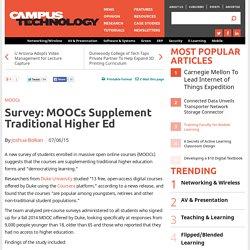 Survey: MOOCs Supplement Traditional Higher Ed