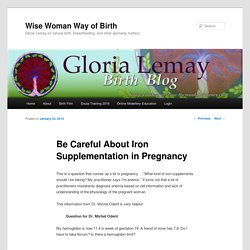 Be Careful About Iron Supplementation in Pregnancy