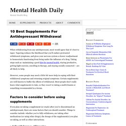 10 Best Supplements For Antidepressant Withdrawal