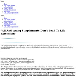 Anti Aging Supplements Are A MUST Because An Anti Aging Diet Isn't Enough!