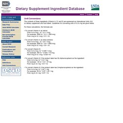 Dietary Supplements Ingredient Database