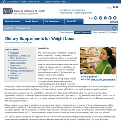Dietary Supplements for Weight Loss — Health Professional Fact Sheet