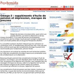 Omega-3 : suppléments d'huile de poisson et dépression, manque de preuves